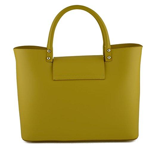 Bolso De Mano En Piel Verdadera Color Amarillo - Peleteria Echa En Italia - Bolso Mujer