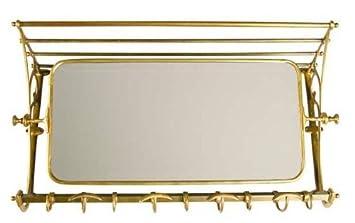 Französische Luxus Wandgarderobe mit Spiegel Messingfarben Edelstahl ...