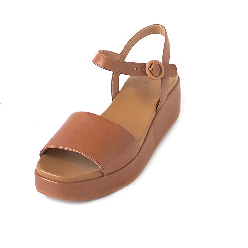 Camper Womens Misa Servolux Coquer Tan Brown Wedge Leather Sandals Size 6