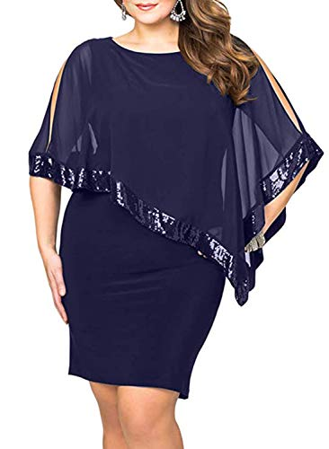 - Diukia Women's Plus Size Sequined Mesh Overlay Sleeveless Pencil Poncho Party Bodycon Mini Dress