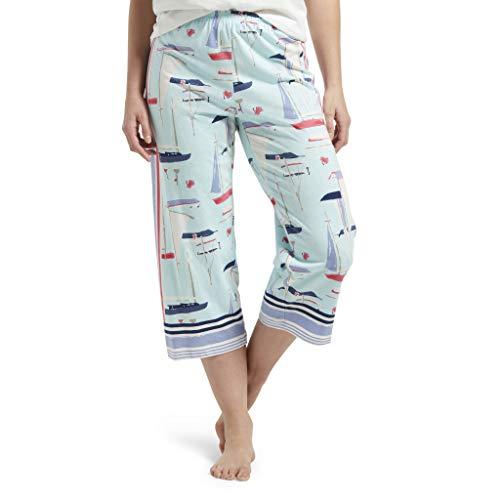 (HUE Women's Plus Capri Printed Knit Pajama Sleep Pant, Plume - All at Sea, 2X)
