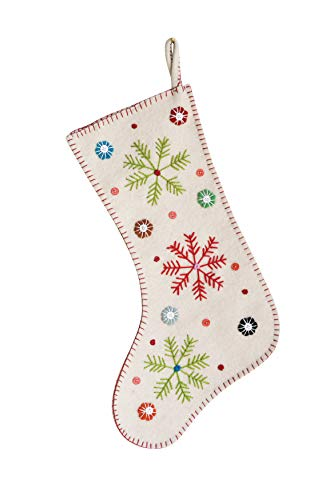 Creative Co-Op Wool Felt Embroidered Stocking, Cream, Multicolor