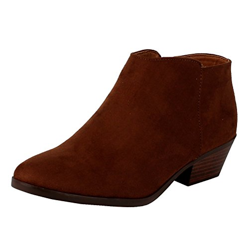 (SODA Women's Western Ankle Bootie w Low Chunky Block Stacked Heel Cognac Faux Suede 9 M US)