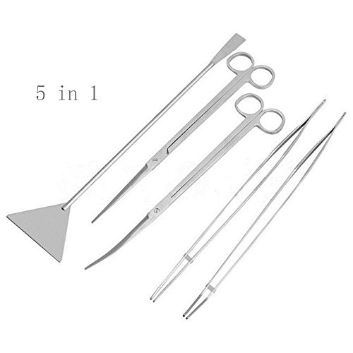 yueyuezou-stainless-steel-aquarium-aquatic-plant-tweezers-scissor-spatula-tool-set-aquariums-starter