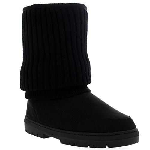 Femmes Court Tricoté Cardy Slouch Hiver Neige Pluie Extérieur Chaud Chaussure Bottes Noir Tricoté