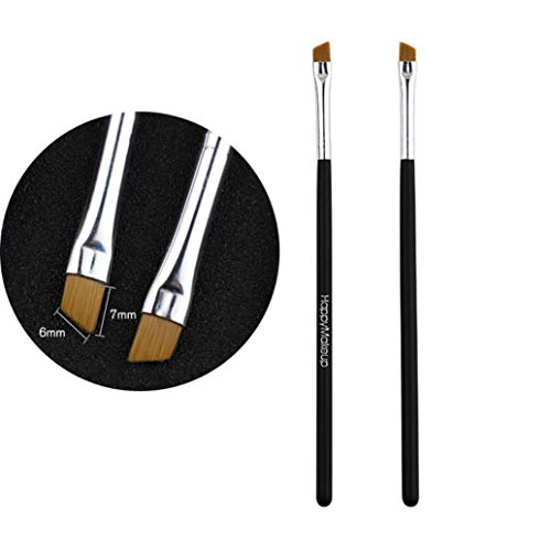 DICPOLIA Beauty Angled Eyebrow Brush Spoolie - Eye Brow Makeup Comb Thin Angle Synthetic Bristle to Define, Shape Blend Perfect Brows Every Time, Works All Cosmetic Fillers (Black)