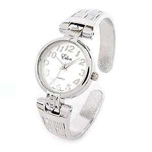 Silver Metal Decorated Band Women's Bangle Cuff Watch