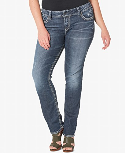 Silver Jeans Co. Women's Plus Size Suki Curvy Fit Mid Rise Straight Leg, Vintage Dark Wash with Lurex Stitch, 18x30