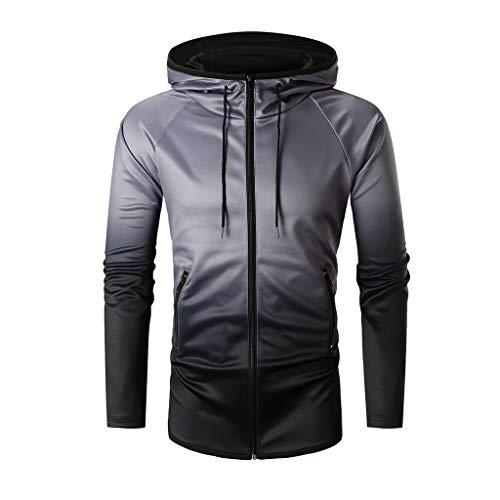 [해외]HDGTSA Men`s Hooded Sweatshirt Gradual Change Hoodie Pullover Long Sleeve Zipper Tops Blouse / HDGTSA Men`s Hooded Sweatshirt Gradual Change Hoodie Pullover Long Sleeve Zipper Tops Blouse(C Black,2XL)