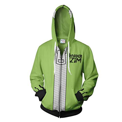 Hibuyer Men's 3D Printing Gir Doom Inspired Zip up Hoodie Sweatshirt Casual Adult Zipper Jacket Green (XXX-Large, Green) -