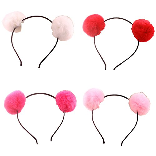Headband Bear Ears Fluffy Furry Soft Ball Cute Fashion Hoop Hairband Halloween Christmas Party Birthday Headwear Cosplay Costume for Girls Boys Toddlers Kids Adults (A set) -