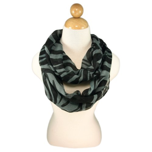 Zebra Animal Print Infinity Loop Fashion Scarf, Gray (Zebra Boots Print)