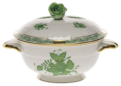 Herend Chinese Bouquet Green Covered Cup With Rose Lid