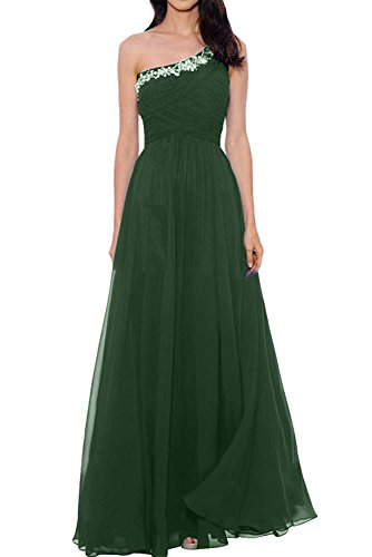 La_mia Braut Festlich Ein-Traeger Asymettrisch Ausschnitt Abendkleider Brautmutterkleider Partykleider Lang A-Linie Rock Dunkel Gruen tB4kZ9d