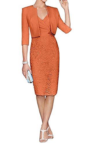 Damen La Blau Festlichkleider Langarm Satin Abendkleider Orange Spitze Knielang Braut Himmel Brautmutterkleider mit Jaket mia waIpqrwg