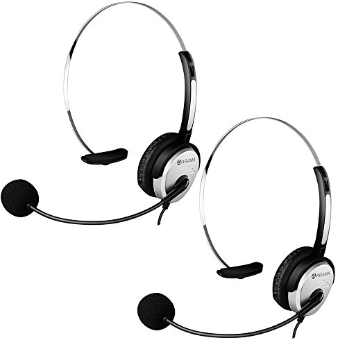Arama PTT MIC Headphone Headset w/Adjustable Band for Midland GMRS FRS Radios (2 Pack)
