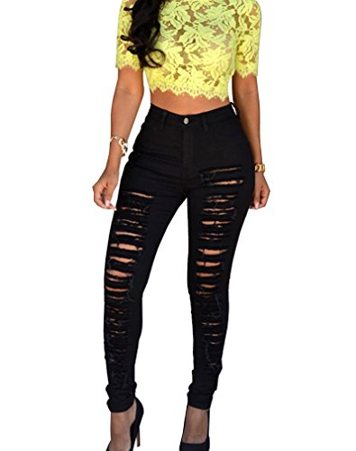Pantaloni Vita Alta Nero Donna Slim Fit Skinny Jeans A Strappati Legging R0TTIq