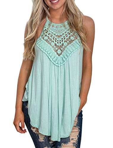 - GAMISOTE Womens Sleeveless Floral Crochet Tunic Summer Halter Lace Swing Shirts Tank Tops Green