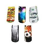 Joyci Unisex 3D Ankle Socks Multi Pattern Low Cut Dollars Animal Socks Cartoon (5 pair)