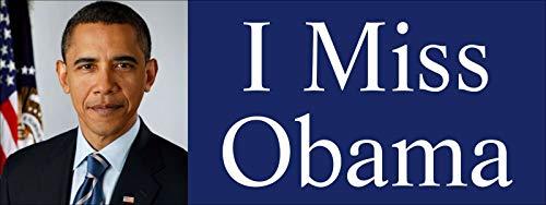 JR Studio 3x8 inch I Miss Obama Bumper Sticker - Clinton Anti Trump pro President Barack Vinyl Decal Sticker Car Waterproof Car Decal Bumper Sticker