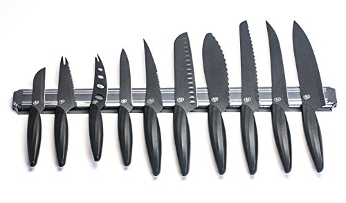 GELA EK-0848 10 Piece Knife Set With Magnetic Bar, 3″, Black