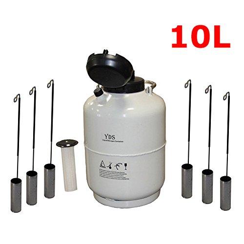 c Liquid Nitrogen Container LN2 Tank Dewar with 6Pcs Pails and Lock Cover ()