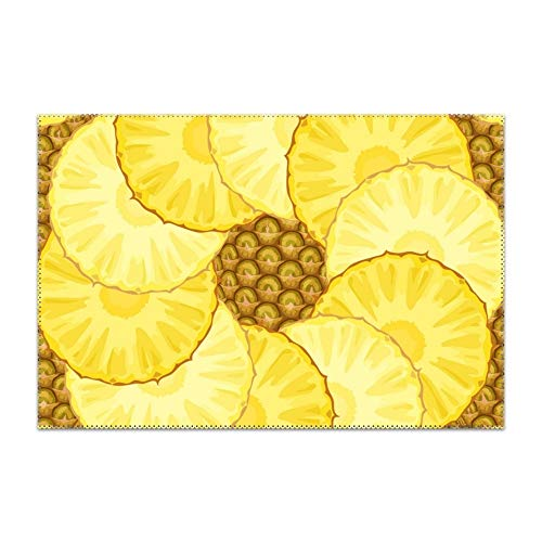 Price comparison product image yyoungsell Placemats Set of 6 Heat-Resistant Pineapple Pieces Placemat Dining Table Stain Resistant Table Mats Easy to Clean