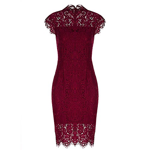2XL Party Lace Dress Women Elegant Sleeveless Floral Lace Pencil Office Silm 4 Colors,Wine Red,M -