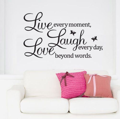 Live every moment Laugh every day Love beyond words Quotes Decal Removable Wall Stickers Vinyl Home Art Decor