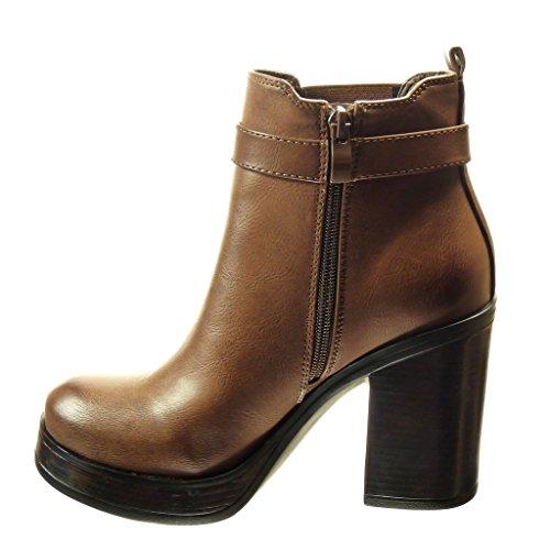 Angkorly - Scarpe da Moda Stivaletti - Scarponcini chelsea boots zeppe donna fibbia Tacco a blocco tacco alto 8.5 CM - Marrone