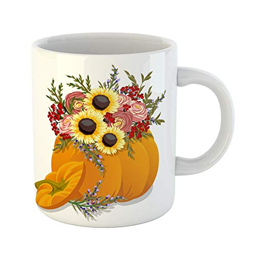 Emvency Coffee Tea Mug Gift 11 Ounces Funny Ceramic Coffin Pumpkin Flowers Halloween Collection Cute Gifts For Family Friends Coworkers Boss Mug ()