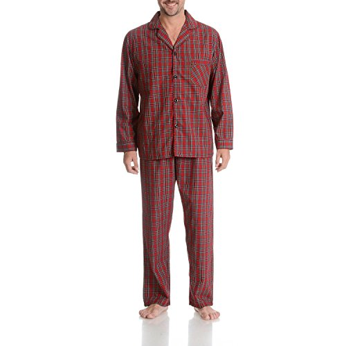 Hanes Men's 2-Piece Pajama Set Red Plaid ()