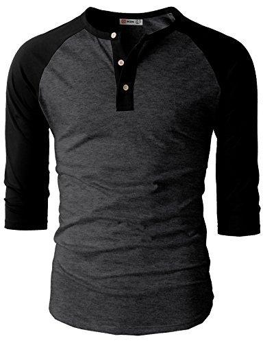 H2H Mens Casual Slim Fit Raglan Baseball 3/4 Sleeve Henley Premium T-Shirts CHARCOALBLACK US L/Asia XL (CMTTS0174) by H2H
