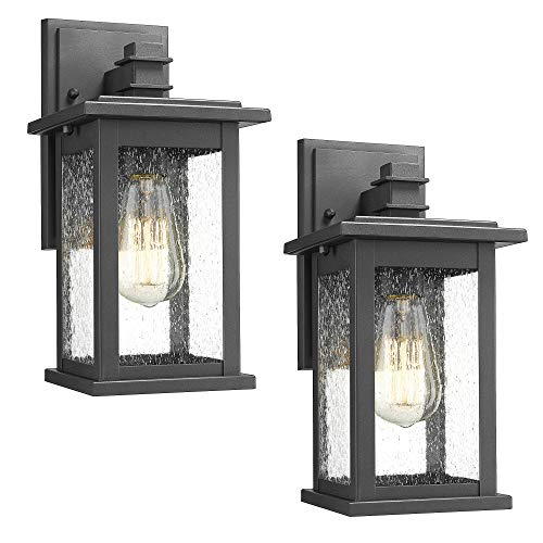 Sconce Bottom Outdoor - Emliviar Outdoor Wall Mount Lights 2 Pack, 1-Light Exterior Sconces Lantern in Black Finish with Clear Seeded Glass, OS-1803EW1-2PK