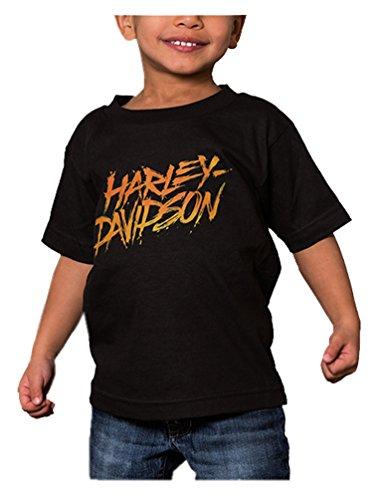 Harley-Davidson Little Boys' Brushed Thermo Short Sleeve Toddler Tee, Black (3T)