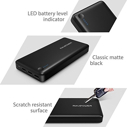Power Banks RAVPower Portable Charger 26800mAh Total 5.5A Output 3-USB Ports Battery Pack (2A Input, iSmart Technology 2.0) External Battery Charger for Smartphones Tablets and More-Black