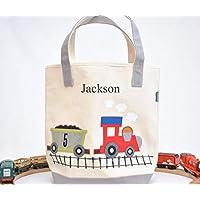 Train Tote| Personalized kids Library bag| toddler tote | Boys Preschool tote