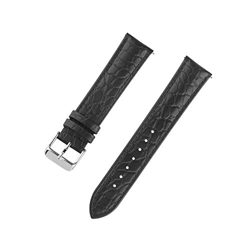 Ivystore 18/20/22mm Alligator Interchangeable Bar Genuine Leather Watch Strap Classical Wristband For Men and (Black Genuine Alligator Strap)