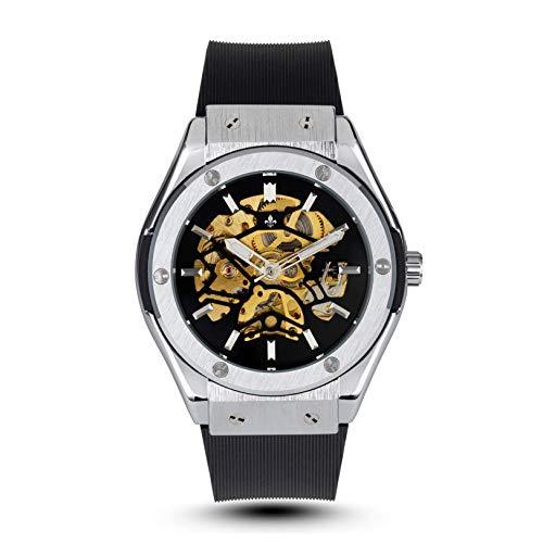 RALPH CHRISTIAN Men's Luxury Wrist Watch - Black Rubber and Steel Skeleton - Prague - Self Winding Timepiece, Analog Dial, Automatic Mechanical Movement & Waterproof