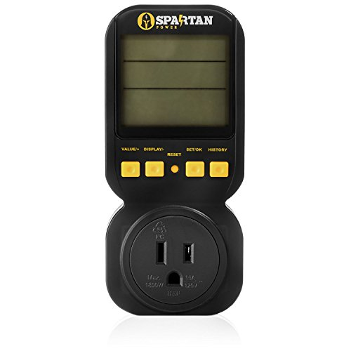 Electricity Usage Monitor by Spartan Power Energy Watt Meter with 15A Outlet, 1800 Watt Maximum (15a Watts)