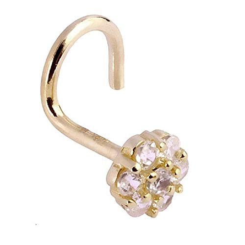 FreshTrends Flower Sparkle 14K Yellow Gold Nose Twist Screw ()