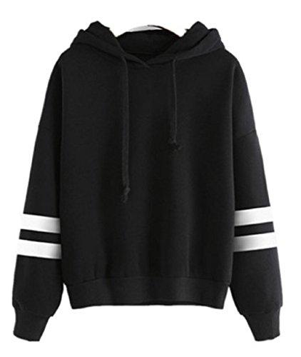 Hot Sale! Women Hoodie Sweatshirt,Canserin Womens Long Sleeve Splice Hoodie Sweatshirt Cotton Blend Hooded Pullover Tops (XL, Black)