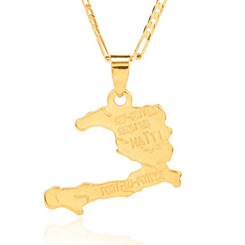Ethlyn 45cm Chain Haiti Map Necklace Pendants 18K Gold Plated Jewelry Haitian Map Jewelry Gifts (Haiti Accessories)