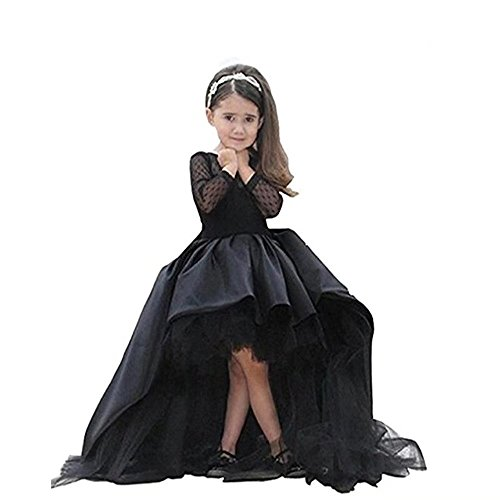 Kalos Dress Shop Hi-Low Flower Girl Dress First Communion Dress with Long Sleeves(Black 9) -