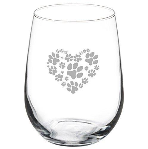 11 oz Stemless Wine Glass Love Animals Heart Paw Prints