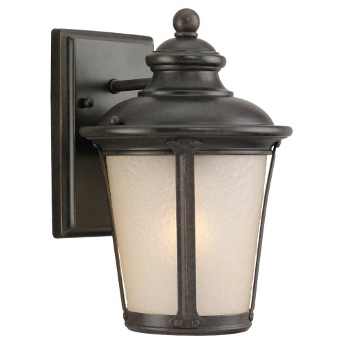 Sea Gull Lighting 88240-780 Outdoor Sconce with Etched Hammered with Light Amber Glass Shades, Burled Iron Finish