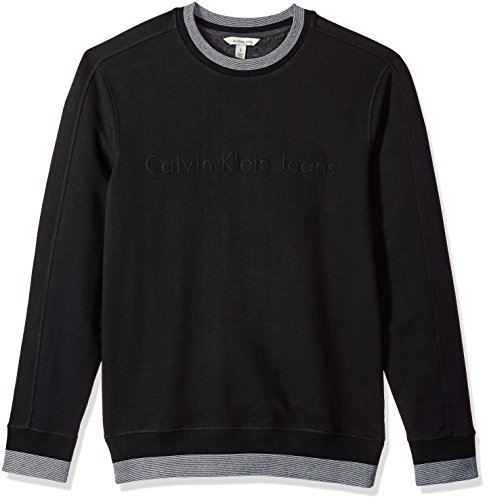 Calvin Klein Jeans Men's Crew Neck Sweatshirt with Tonal Rib Tipping, Black, M by Calvin Klein