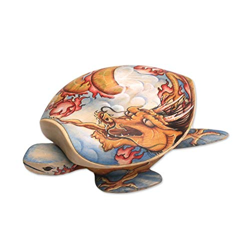 NOVICA 302899 Dragon-Hearted Turtle Wood Jewelry Box Multicolor