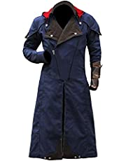 KAAZEE Assassin's Creed Unity Arno Dorian Victor with Detachable Hoodie Cosplay Costume Blue Denim Cloak Trench Coat