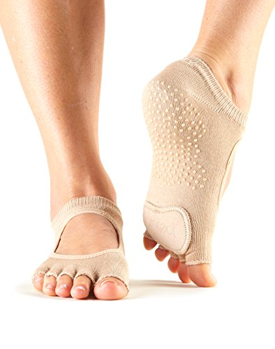 ToeSox Women's Plie Half Toe Grip for Yoga, Pilates, Barre, Dance, Toe Socks With LEATHER PAD (Nude) Small